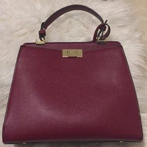 Red with Gold Detail Top Handle Satchel